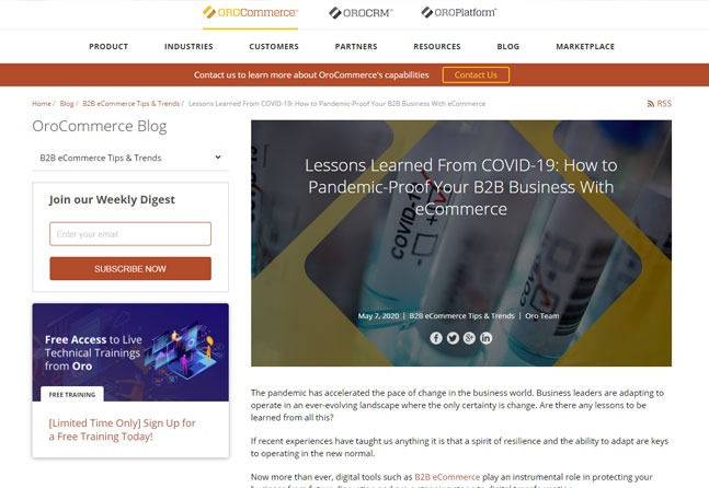 Advance Web Solutions Featured On OroCommerce Blog Regarding Lessons Learned From COVID-19